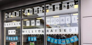 To celebrate Captain Tom Moore's 100 birthday, his local Central England Co-op has joined with the community to create a special display and donate £10,00 to his record-breaking NHS fundraising efforts.