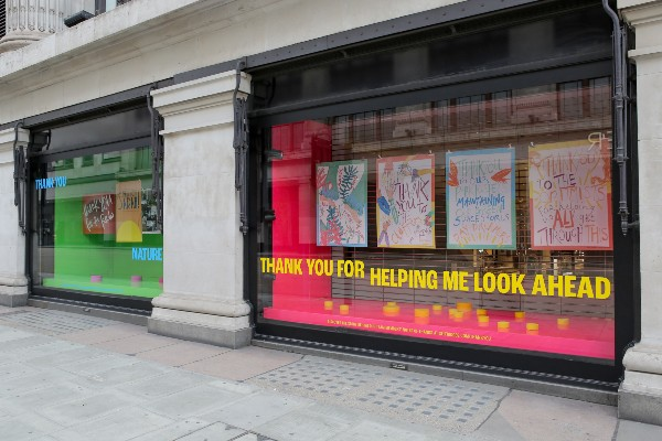 Selfridges London unveils its new Thank You tribute window display in celebration of the hard work done by those who have kept the country going during the coronavirus pandemic and give thanks to those who have helped people and communities around the country at this difficult time.