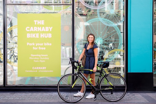 Following the rise of cycling during lockdown Carnaby has opened its free bike hub. It operates on an open door policy from 7am – 9pm Monday to Sunday with availability for 50 bikes in newly fitted double stacked racks.