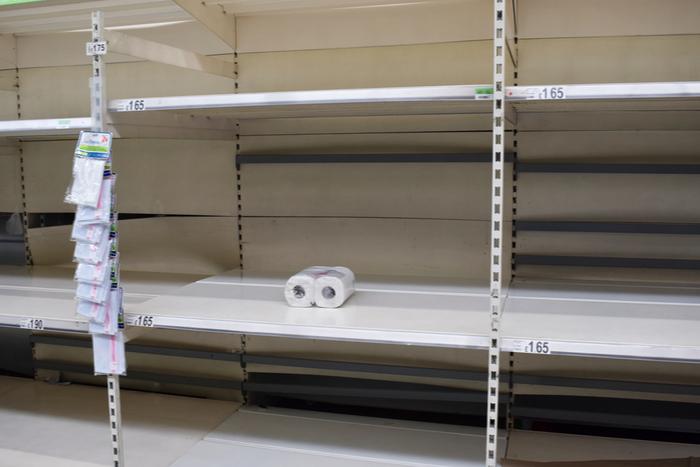 Asco Morrisons Covid-19-Pandemie-Lockdown-Store von Tesco Sainsbury schließt Schließung von PSA-Lagerbeständen Panik beim Kauf von
