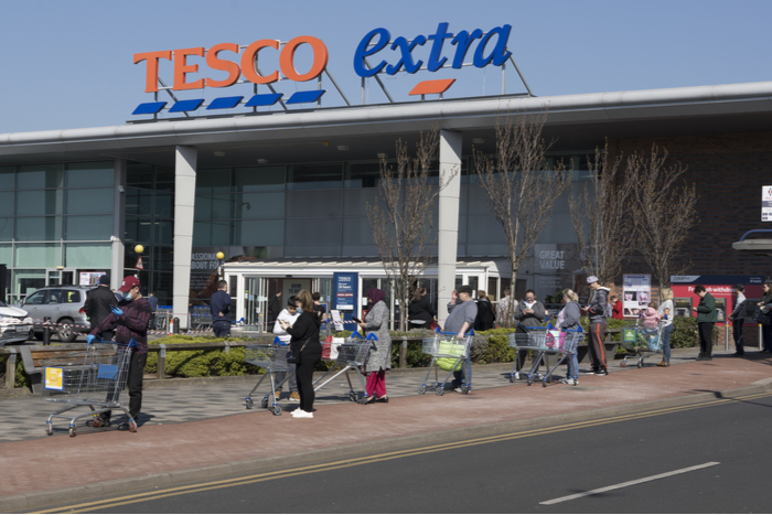 Tesco Sainsbury's Asda Morrisons Covid-19 pandemic lockdown store closures PPE stockpiling panic buying