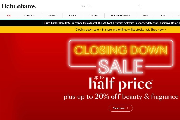 Debenhams closing down sale