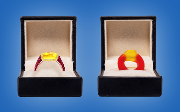The jewellery retailer Taylor & Hart has created a diamond-encrusted Haribo-inspired ring that you can actually propose with.The ruby red band includes 224 diamonds and is topped with an 18 carat yellow gold basket of 40 diamonds.