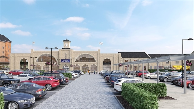 An artist's impression of the retail park development in Rotherham.
